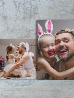 Canvas print wrap (landscape & portrait) with father and daughter on both