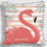 Flamingo Pom Pom Cushion