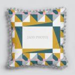 Geometric Themed Pom Pom Cushion