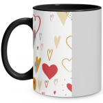 Hearts Doodle Black Mug