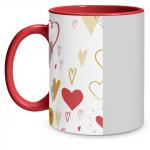 Hearts Doodle Red Mug