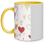 Hearts Doodle Yellow Mug