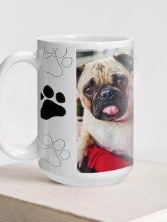 Big mug with paw print theme and photo